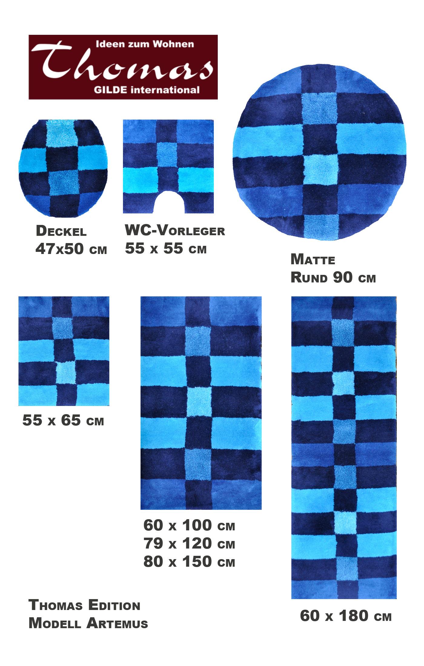thomas badteppich rund artemus mt 2233 02 blau 90 cm ebay. Black Bedroom Furniture Sets. Home Design Ideas